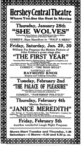 Hershey Press advertisement for Hershey Central Theatre, January 1, 1926