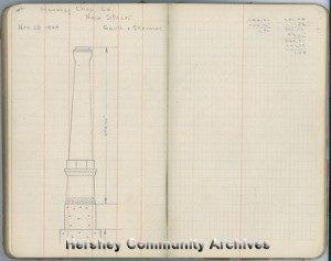 Drawing of new Hershey Chocolate Company smokestack, 1924. Field Survey book #33, p. 142