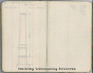 Drawing of new Hershey Chocolate Company smokestack, 1924. Field Survey book #33, p. 142