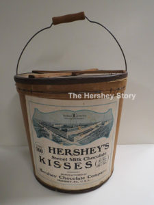 Hershey Chocolate Company sold Hershey's Kisses by weight. The pail was a unique way of packing bulk Kisses. ca1920
