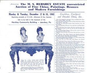 Poster advertising the Milton S. Hershey Estate Auction, December 17-18. 1945
