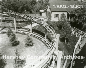 Bird's-eye view of Trailblazer roller coaster, ca. 1974-1985