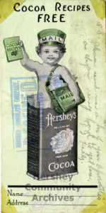 Postcards like this one were wrapped with Hershey's standard size milk chocolate bars, 1915