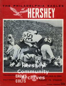 Program for Philadelphia Eagles v. Baltimore Colts game at the Hershey Stadium, August 8, 1964