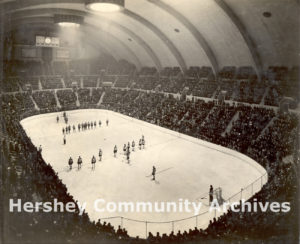 Dedication ceremonies for the new Hershey Arena included a hockey game and a figure skating exhibition by Olympic champion Sonja Henie, 1936