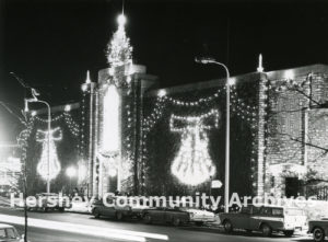 Each year Hershey Chocolate Corporation decorated its office building with lights for the holiday season, ca. 1963