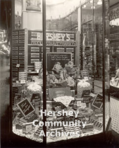 Hershey Chocolate Corporation offered store window displays to its customers to help them promote Hershey products, ca. 1936