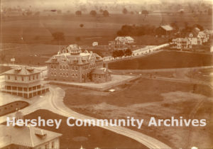 View of Hershey from the chocolate factory smokestack, ca. 1906-1909