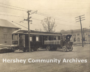 Hershey Transit Company trolleys delivering milk to the factory, ca. 1915