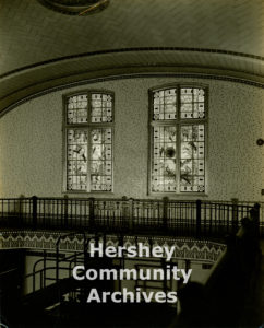 Rudy Glass stained glass windows were incorporated into some of Hershey's more utilitarian spaces such as the Community Building swimming pool, ca. 1933
