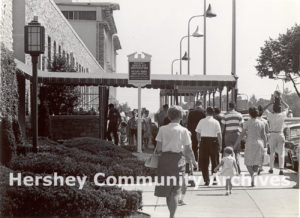 Visitors line up to tour the Hershey Chocolate factory, ca. 1964-1967
