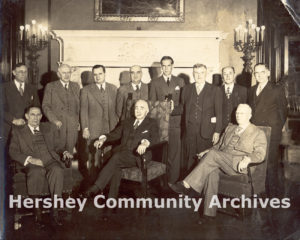 Hershey Industrial School (Milton Hershey School) Board of Managers. Front row, left to right: P.A. Staples, Milton S. Hershey, William Murrie, 1944