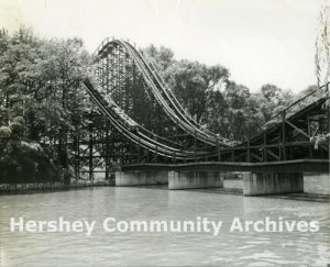 The Comet roller coaster crosses Spring Creek twice during its journey, ca. 1960-1070