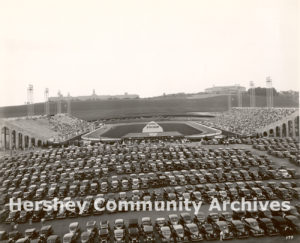 Hershey Stadium seated 16,000 people and was used for a variety of events, including midget auto racing, football, baseball, police rodeos, and musical performances, 1939