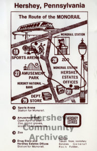 Hershey Estates Monorail map, 1969