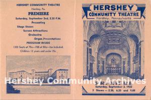 Hershey Theatre Premiere program, outside cover, September 1933