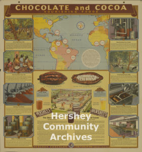 Hershey Chocolate Corporation distributed charts such as this to schools to help them teach students about making chocolate, 1944