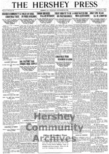 The Hershey Press announced the erection of a community Christmas tree, December 23, 1915