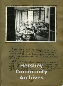 A page from a photo album presented to Milton Hershey as a thank you from the Colonia Infantil Hershey, 1938