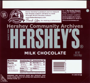 Hershey's Milk Chocolate bar wrapper, 2010-2013