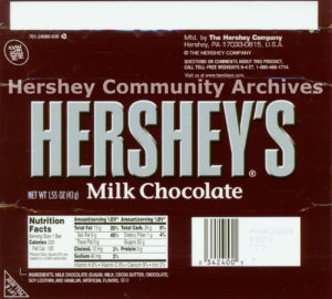 Hershey's Milk Chocolate bar wrapper, 2003-2010