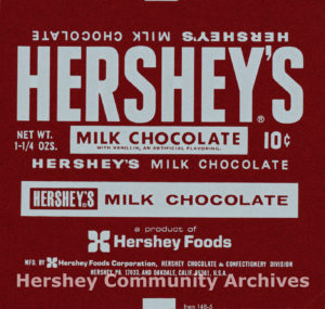 Hershey's Milk Chocolate bar wrapper, 1969