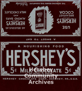 Hershey's Milk Chocolate bar wrapper, 1928-1935