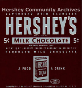 Hershey's Milk Chocolate bar wrapper, 1936-1939