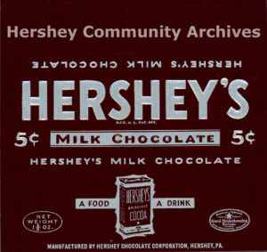 Hershey's Milk Chocolate bar wrapper, 1940-1950
