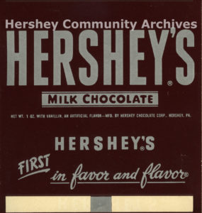 Hershey's Milk Chocolate bar wrapper, ca. 1951-1968