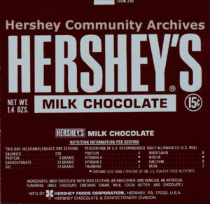 Hershey's Milk Chocolate bar wrapper, 1973-1976
