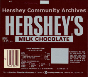 Hershey's Milk Chocolate bar wrapper, 1978-1982