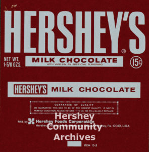 Hershey's Milk Chocolate bar wrapper, 1970-1973