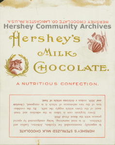 Hershey's Milk Chocolate bar wrapper, 1900-1903