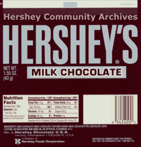 Hershey's Milk Chocolate bar wrapper, ca. 1988-2001