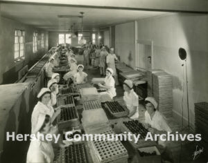 By the 1930s, Reese's Peanut Butter Cups were very popular. Cupping and hand dipping room, ca. 1935