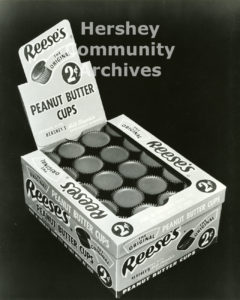 Reese's Peanut Butter Cups were available in a variety of sizes: 1 cent, 2 cent and 5 cent cups. Product packaging, ca. 1950-1960