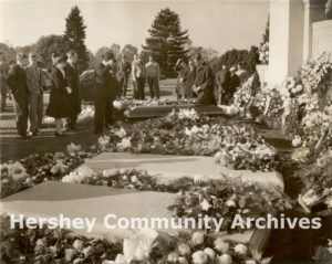 Mourners paid their respects at Milton Hershey's gravesite, Hershey Cemetery, October 16, 1945
