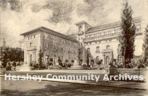 The proposed Community Building was designed by C. Emlen Urban, a noted Lancaster architect. He was responsible for all the public buildings in Hershey built 1903-1926. Community Building rendering, 1915