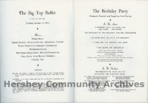 Program for President Dwight D. Eisenhower Birthday Party, October 13, 1953