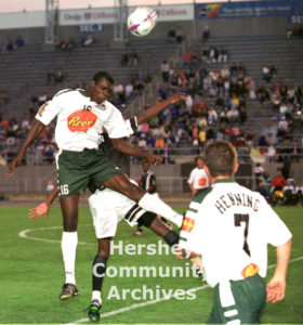From 1997-2001 Hershey sponsored its own professional soccer team, the Hershey Wildcats. Defender Nigel Henry intercepts the ball.