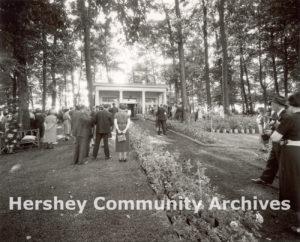 Hershey Rose Garden Dedication Ceremony, Horace McFarland speaking from Admission Building porch, September 15, 1938