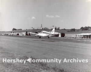 Plane landing at Hershey Air Park, ca. 1960-1980