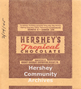 Hershey's Tropical Chocolate Bar wrapper, 1945