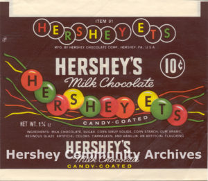 "Hershey-Ets' shape changed to circular ""lentils"" in 1960."