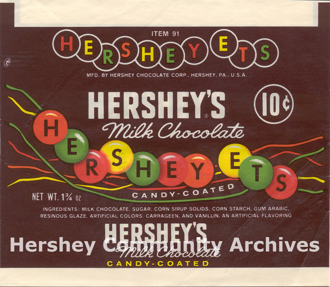 """Hershey-Ets' shape changed to circular """"lentils"""" in 1960."""