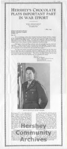 Hershey published this article about 2nd Lt. Ernest Childers who praised the Ration bar, May 1, 1944
