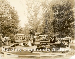 One of the first Kiddie rides added to Hershey Park was a children's boat ride. ca. 1926-1935