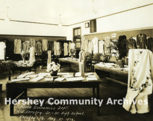 The Hershey Vocational School program for girls emphasized home-making skills such as cooking and sewing. Miss K. Kingsbury's Home Economics class, May 27, 1926