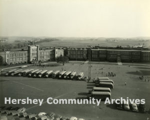At first, The M.S. Hershey Foundation underwrote the expense of specific projects, such as school buses. 1940